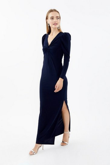 Navy Long Sleeve Twist Front Maxi Dress