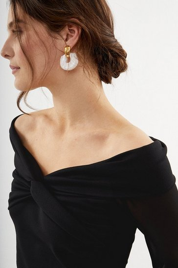 Black Long Sleeve Bardot Twist Top