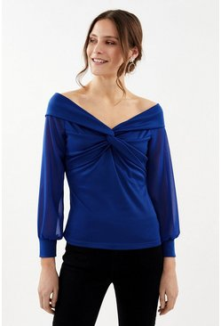 Cobalt Long Sleeve Bardot Twist Top