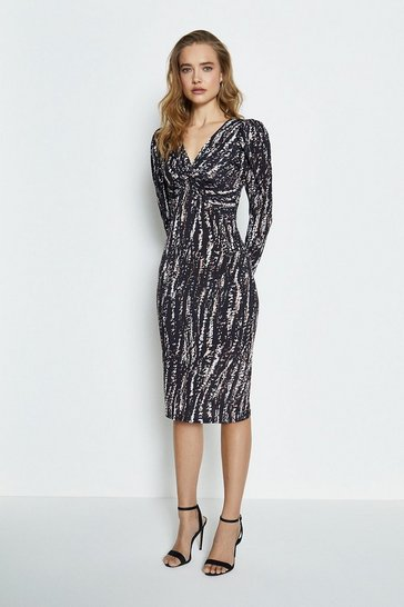 Multi Printed Twist Front Jersey Dress