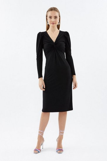 Black Twist Front Jersey Dress