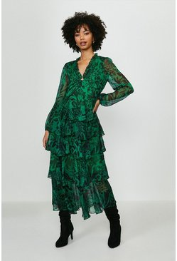Green Printed Long Sleeved Tiered Midi Dress