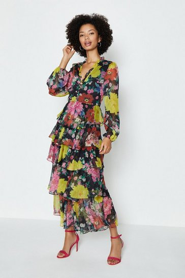 Multi Printed Long Sleeved Tiered Midi Dress