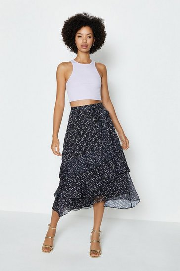 Black Tiered Maxi Skirt With Belt