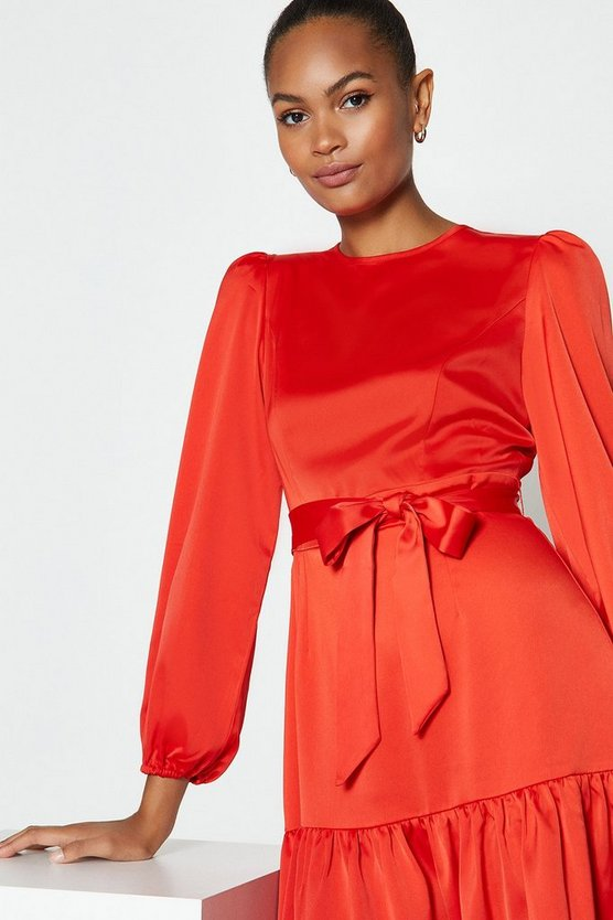 Orange Ruffle Hem Tie Waist Dress