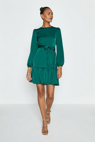 Teal Ruffle Hem Tie Waist Dress