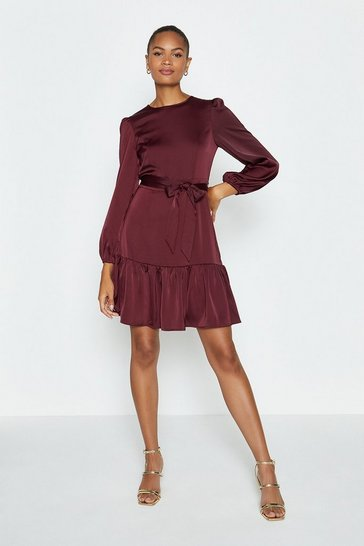 Wine Ruffle Hem Tie Waist Dress