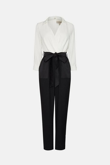Mono Wrap Belted Bow Jumpsuit