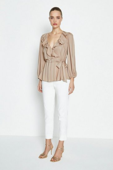 Natural Long Seeve Ruffle Wrap Blouse