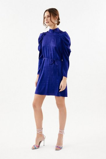 Cobalt Animal Jacquard Short Dress