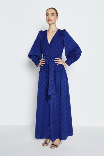 Cobalt Long Sleeved Spot Tiered Maxi Dress