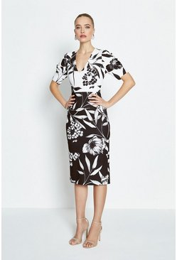 Mono Contrast Printed Sleeved Shift Dress