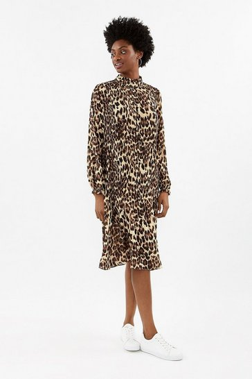 Multi Animal Pleated Midi Dress