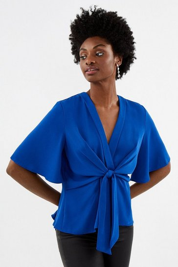 Cobalt Flare Sleeve Wrap Top