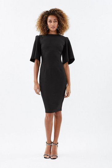 Black Flare Sleeve Shift Dress
