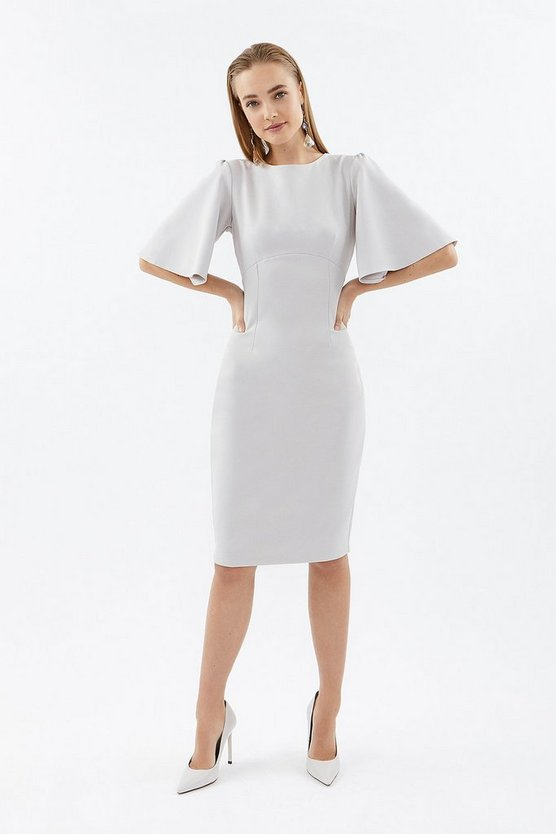 Silver Flare Sleeve Shift Dress