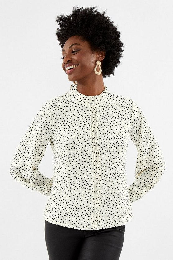 Ivory Polka Dot Frill Neck Top