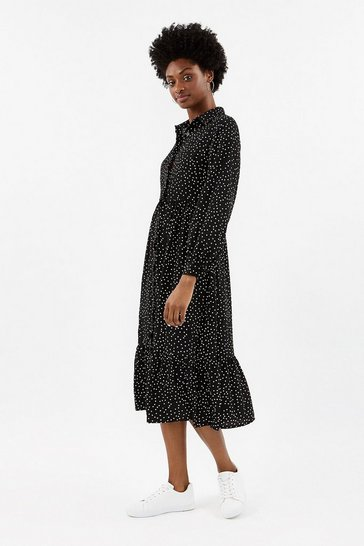 Mono Polka Dot Shirt Dress