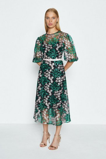 Green Puff Sleeve Embroidered Midi Dress