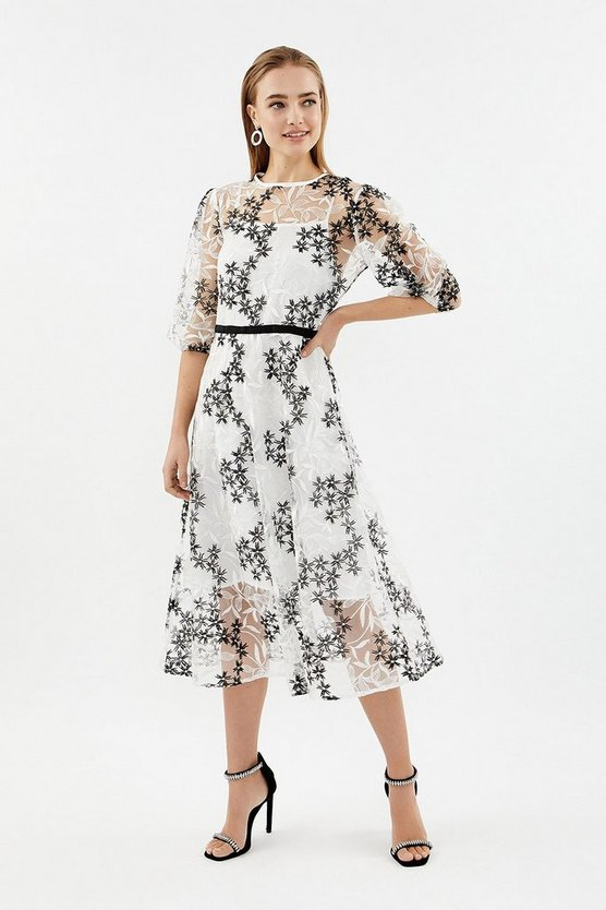 Mono Puff Sleeve Embroidered Midi Dress