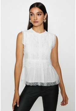 Ivory Lace Shell Top With Spot Tulle Hem