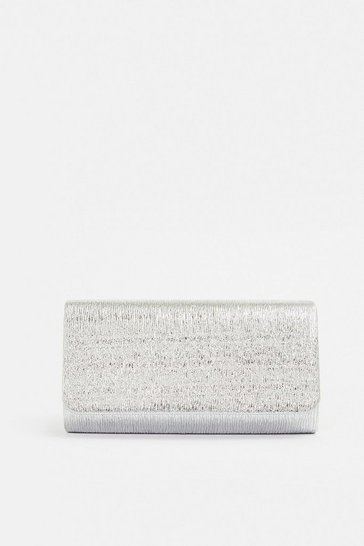 Textured Silver Clutch Bag
