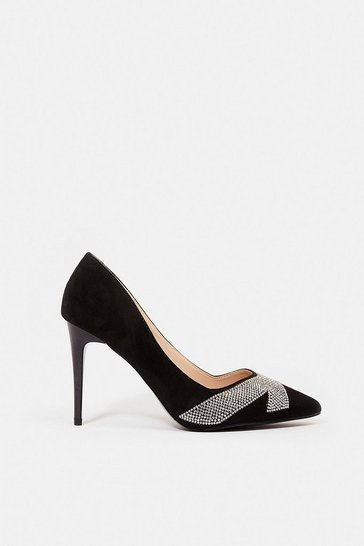 Black Suedette Diamante Court Shoe
