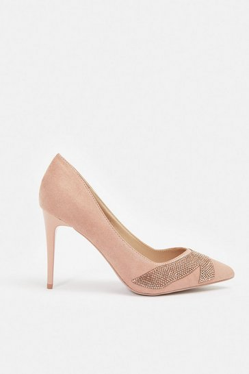 Pink Suedette Diamante Court Shoe