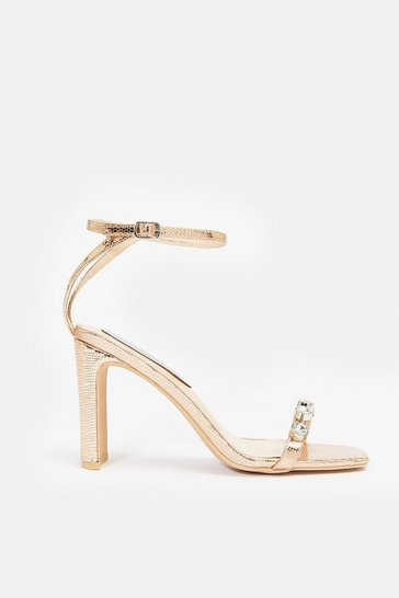 Rose Metallic Snake Print Strappy Square Toe Sandal