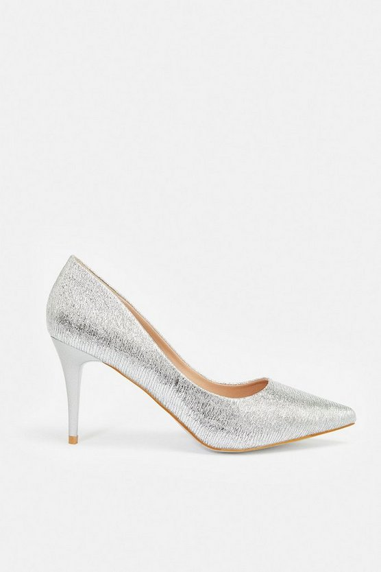 Silver Textured Court Shoe