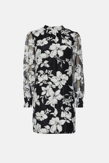 Blackwhite High Neck Puff Sleeve Floral Dress