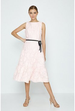 Blush Belted Dirndl Hem Dress