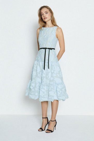 Ice blue Belted Dirndl Hem Dress