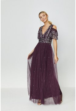 Berry Cold Shoulder Scattered Embellished Maxi Dress
