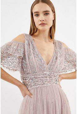 Blush Cold Shoulder Scattered Embellished Maxi Dress