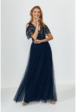 Navy Cold Shoulder Scattered Embellished Maxi Dress