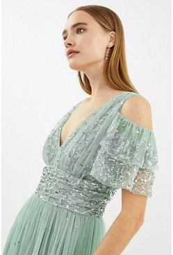 Sage Cold Shoulder Scattered Embellished Maxi Dress
