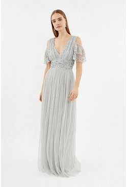 Silver Cold Shoulder Scattered Embellished Maxi Dress