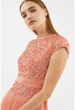 Coral Drop Waist Sequin Maxi Dress