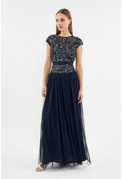 Navy Drop Waist Sequin Maxi Dress