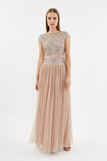 Nude Drop Waist Sequin Maxi Dress