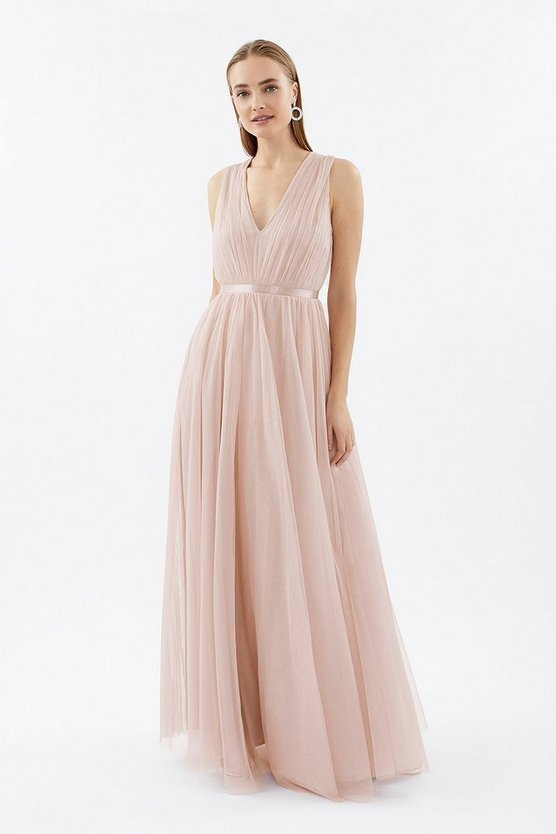 Blush V-Neck Mesh Banded Maxi Dress