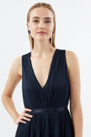 Navy Banded V Neck Mesh Maxi Dress