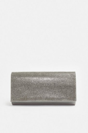 Silver Diamante Flap Clutch Bag