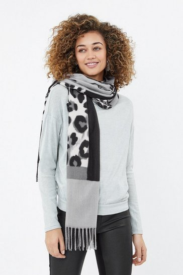Grey Blocked Leopard Scarf