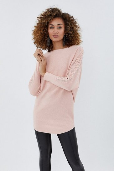 Blush Embellished Sleeve Relaxed Jumper