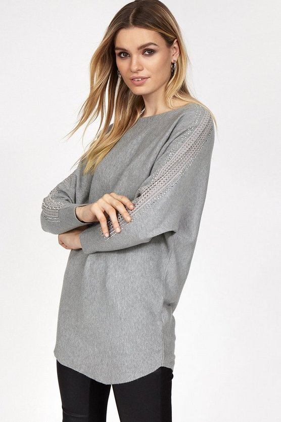 Grey Embellished Sleeve Relaxed Jumper