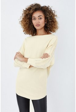 Ivory Embellished Sleeve Relaxed Jumper