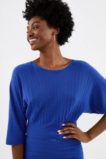 Cobalt Batwing Rib Knit Top
