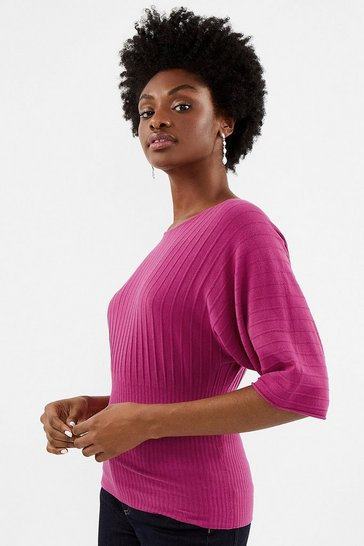 Pink Batwing Rib Knit Top